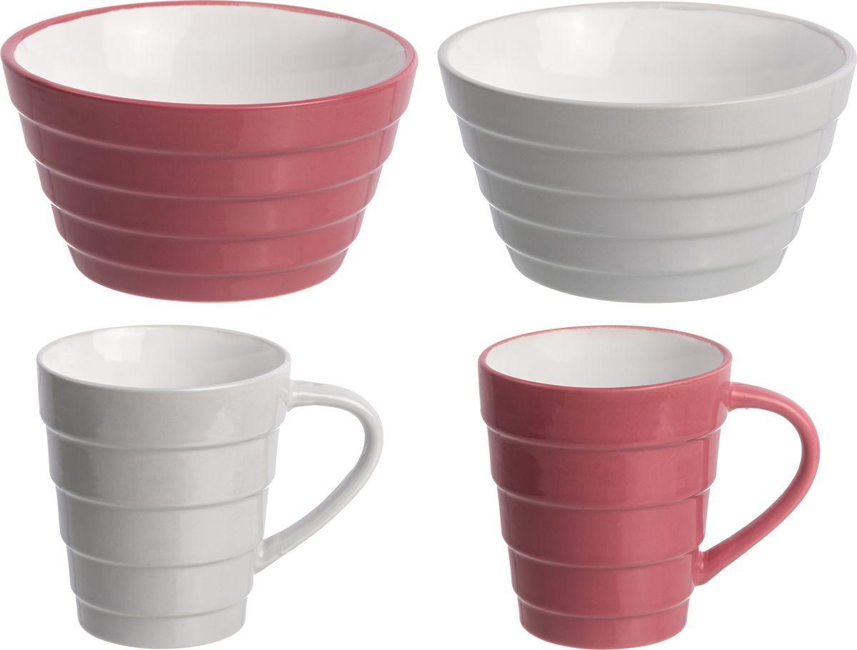 Фото - Набор столовой посуды Elan Gallery Пастель, 160054+4, серый, красный, 4 предмета набор стаканов elan gallery разноцветные 4 предмета