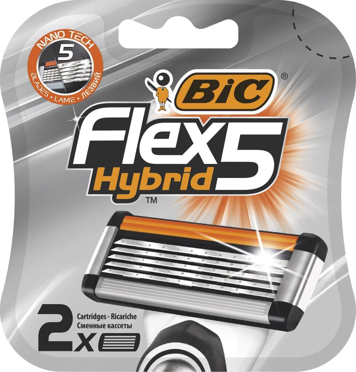 Сменные кассеты для бритья BIC Flex 5 Hybrid, 2 шт кассеты bic flex 3 hybrid 4шт