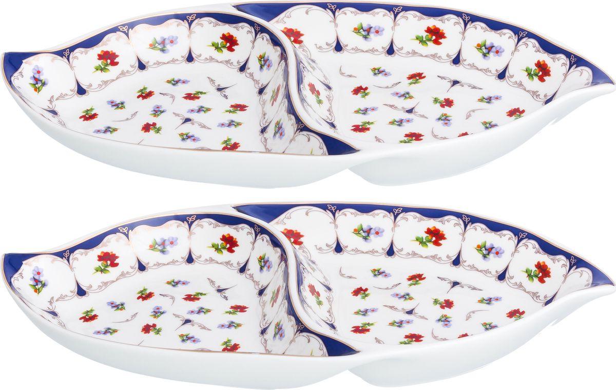 Менажница Elan Gallery Цветочек двухсекционная, 740350_2, белый, синий, 2 шт менажница elan gallery цветочек 29 5 14 5 3 5 см 2 секции