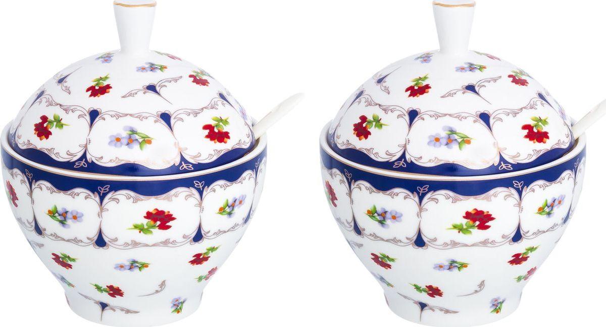Сахарница Elan Gallery Цветочек с ложкой, 740403_2, белый, синий, 410 мл, 2 шт цена в Москве и Питере
