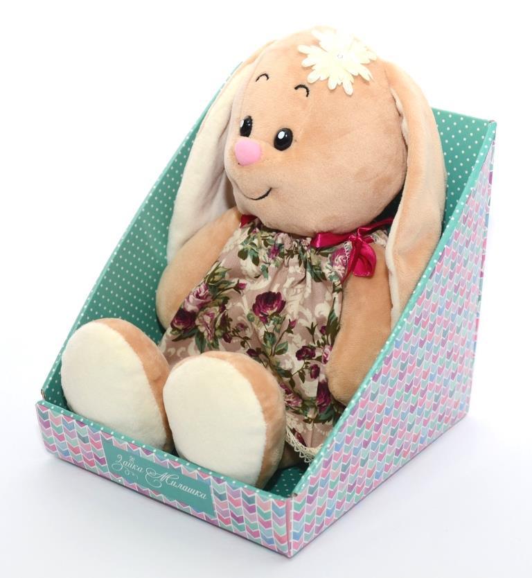 Мягкая игрушка СмолТойс Зайка Милашка в платье на завязках в цветочек В30, 6130/БЖ/30(И002-1) бежевый