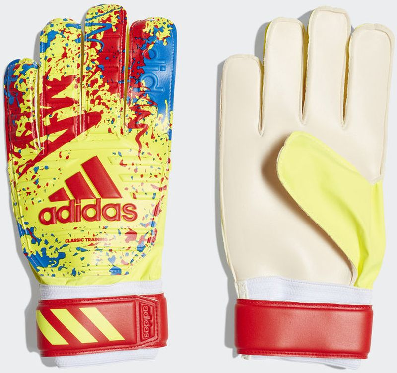 Вратарские перчатки Adidas Classic Trn, DT8746, желтый, красный, голубой, размер 8 все цены