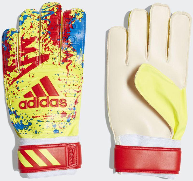 Вратарские перчатки Adidas Classic Trn, DT8746, желтый, красный, голубой, размер 10 все цены