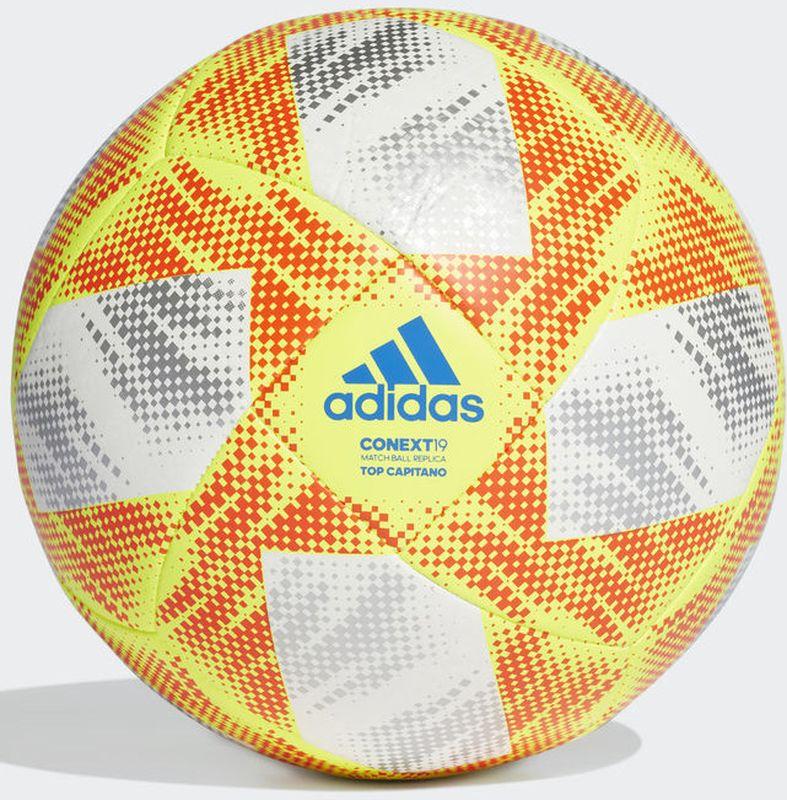 Мяч футбольный Adidas Conext19 Tcpt, DN8636, белый, желтый, оранжевый, размер 3 мяч футбольный adidas real madrid fbl cw4156 белый серый размер 3