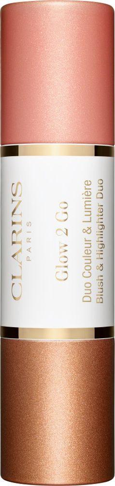 Румяна и хайлайтер Clarins Glow to Go, тон № 02, 2 х 4,5 г цена