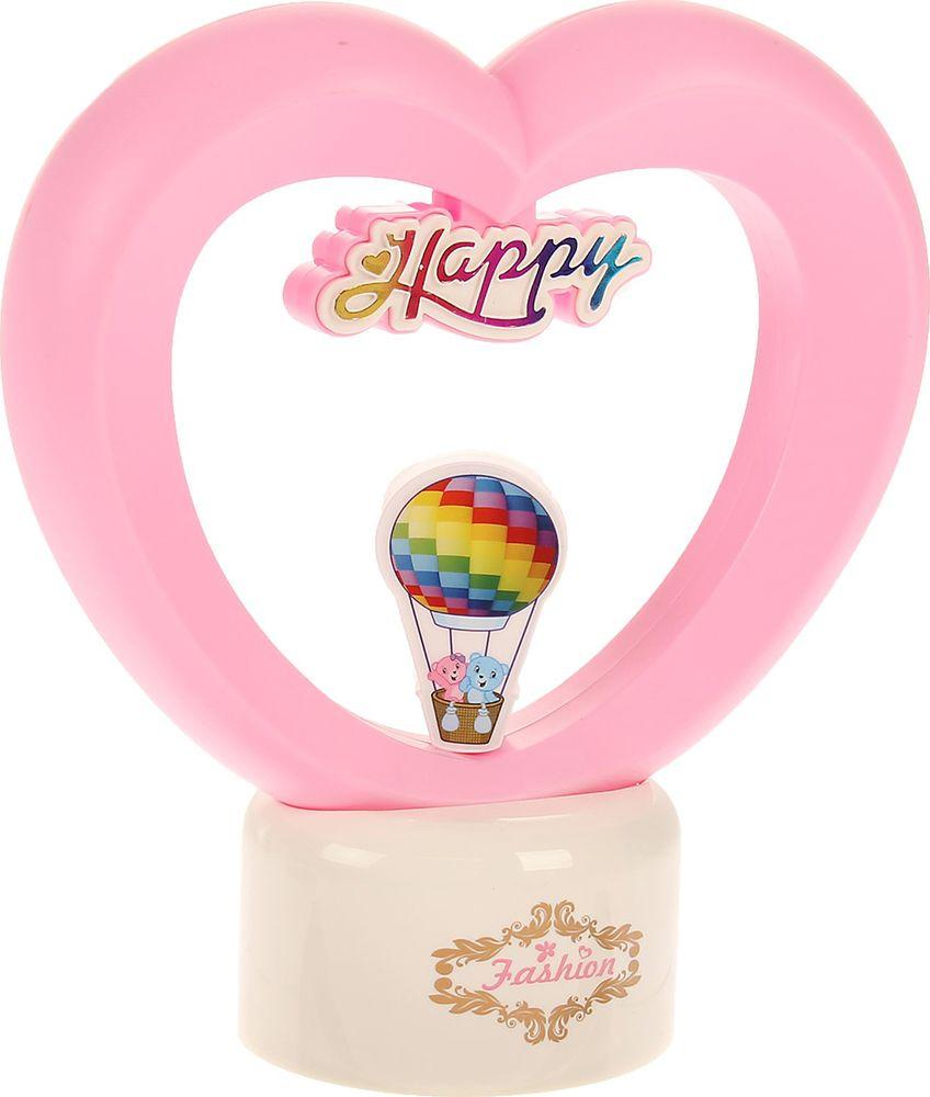 Ночник Risalux Воздушный шар в сердце, 2858201, розовый, 26 х 23 х 10 см настольный светильник risalux гофре e27 3629891 бежевый 30 х 30 х 44 см