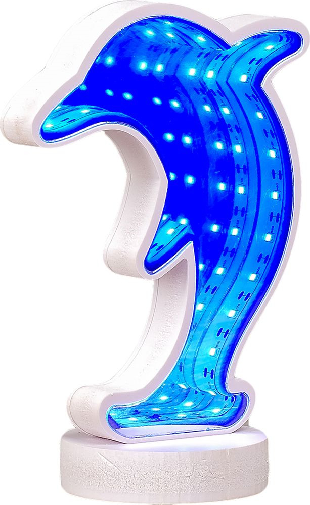 Ночник Risalux Дельфин с эффектом бесконечности, 2858205, белый, 19 х 13 х 8 см настольный светильник risalux гофре e27 3629891 бежевый 30 х 30 х 44 см
