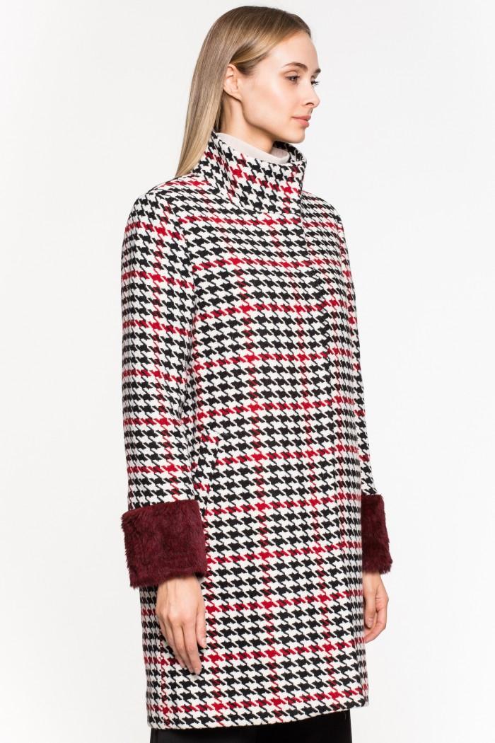 Пальто STYLE NATIONAL утепленное пальто из натуральной кожи с отделкой мехом козлика