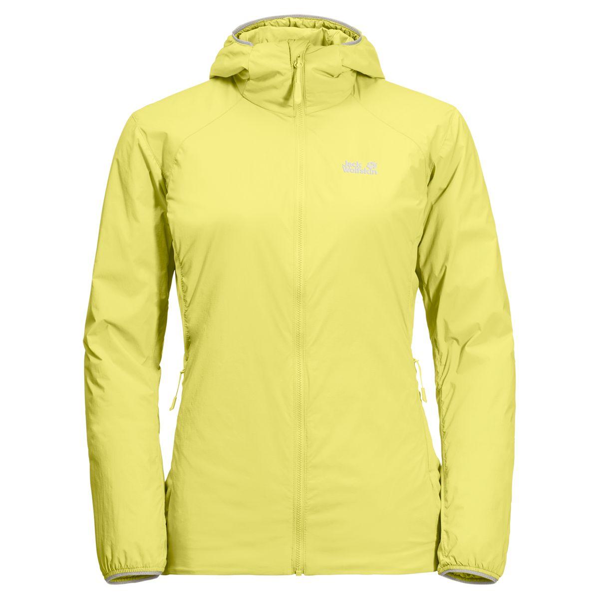 Куртка женская Jack Wolfskin Opouri Peak Jacket W, цвет: лимонный. 1204591-3075. Размер S (44)1204591-3075После изнуряющего покорения нескольких сотен метров крутой тропы вы наконец добираетесь до вершины. Там сильный ветер, поэтому пора вытаскивать из рюкзака вашу OPOURI PEAK (ОПУРИ ПИК). Эта легкая куртка утепленная и защищает от ветра. То что нужно в горах, особенно при интенсивном движении. Экологически безопасный синтетический утеплитель куртки обеспечивает базовый уровень теплоизоляции. Снаружи его защищает особая ветронепроницаемая мембранная ткань, что способствует еще более эффективному сохранению тепла. Куртка настолько легкая и компактная в сложенном виде, что она запросто поместится в вашу сумку на пояс. А еще она идет в комплекте с удобным маленьким чехлом Эластичные вставки по бокам придутся очень кстати во время энергичных занятий. OPOURI PEAK JACKET (ОПУРИ ПИК ДЖЭКЕТ);можно носить отдельно и брать с собой в качестве запасной теплой куртки для привала. В сырую погоду вы можете носить ее под непромокаемой курткой.