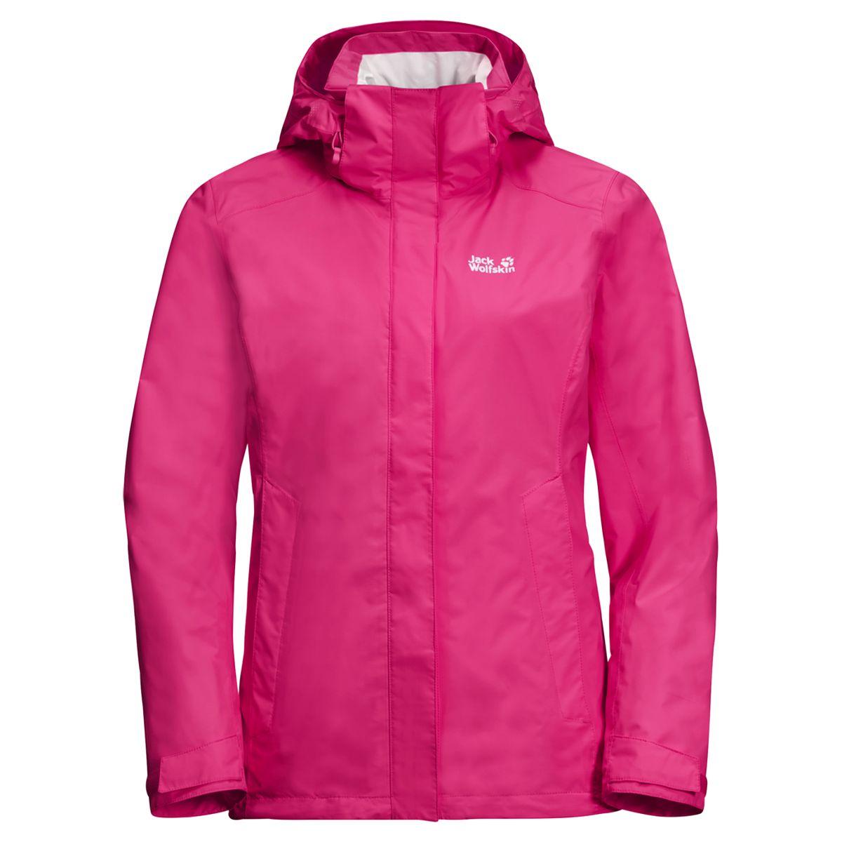 Куртка женская Jack Wolfskin Seven Lakes Jacket W, цвет: темно-розовый. 1108593-2010. Размер L (50)1108593-2010Низкие облака, и, кажется, собирается дождь... Это не помешает вам наслаждаться прогулкой. Потому что, если на вас куртка SEVEN LAKES JACKET (СЭВЕН ЛЭЙКС ДЖЭКЕТ), вы знаете, что не промокнете. Это одна из самых легких водостойких и дышащих курток для хайкинга в нашей коллекции. И у нее есть еще масса других практичных свойств. К примеру, системная застежка-молния, которая позволяет превратить ее в зимнюю куртку; или регулируемый капюшон, который при необходимости можно отстегнуть. А когда снова засияет солнце и куртка будет больше не нужна, ее можно очень компактно сложить. Она весит всего несколько сотен граммов, поэтому вы почти не заметите ее в своем рюкзаке. В холодные зимние дни просто состегните ее с теплой внутренней курткой. Системная застежка-молния — это очень просто.