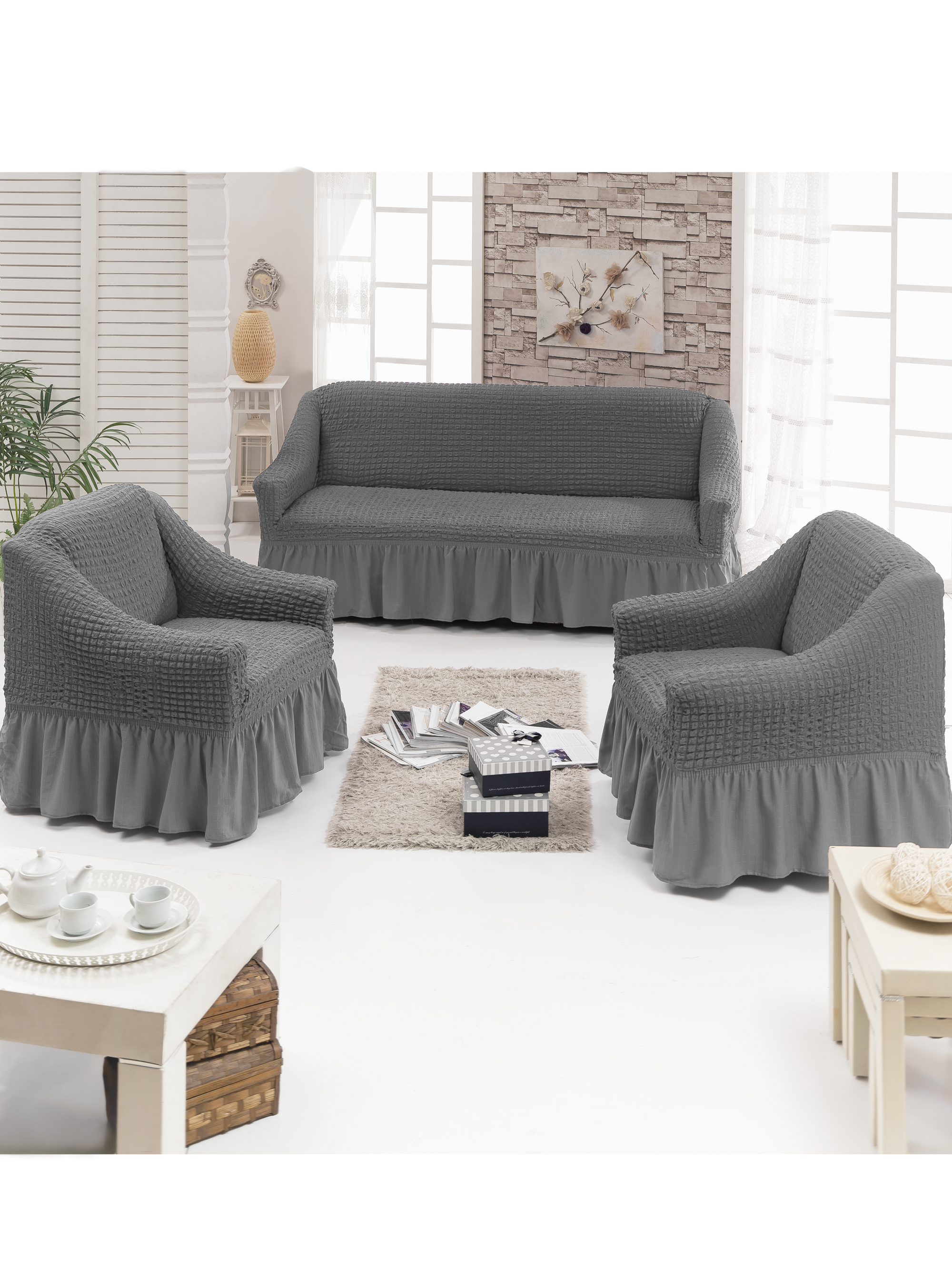 Чехол на мебель JUANNA Чехол д/мягкой мебели 3-х пр.(3+1+1) JUANNA_серый, серый комплект мягкой мебели пульсар 3 3 1 1