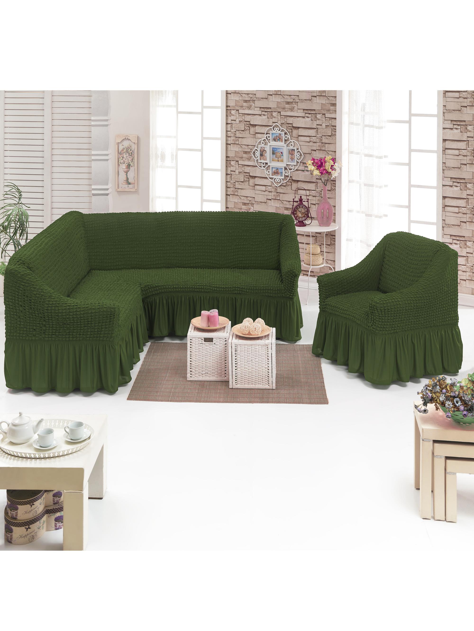 Чехол на мебель JUANNA Чехол д/мягкой мебели Угловой 2-х пр.(3+1) кресла 1шт JUANNA_оливковый, оливковый