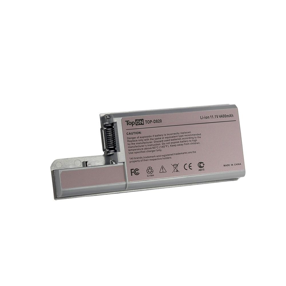 Аккумулятор для ноутбука TopON Dell Latitude D531, D820, D830, Precision M65, M4300.  11. 1V 4400mAh 49Wh.  PN:  CF623, DF192.  Серый. , TOP-D820 TopON