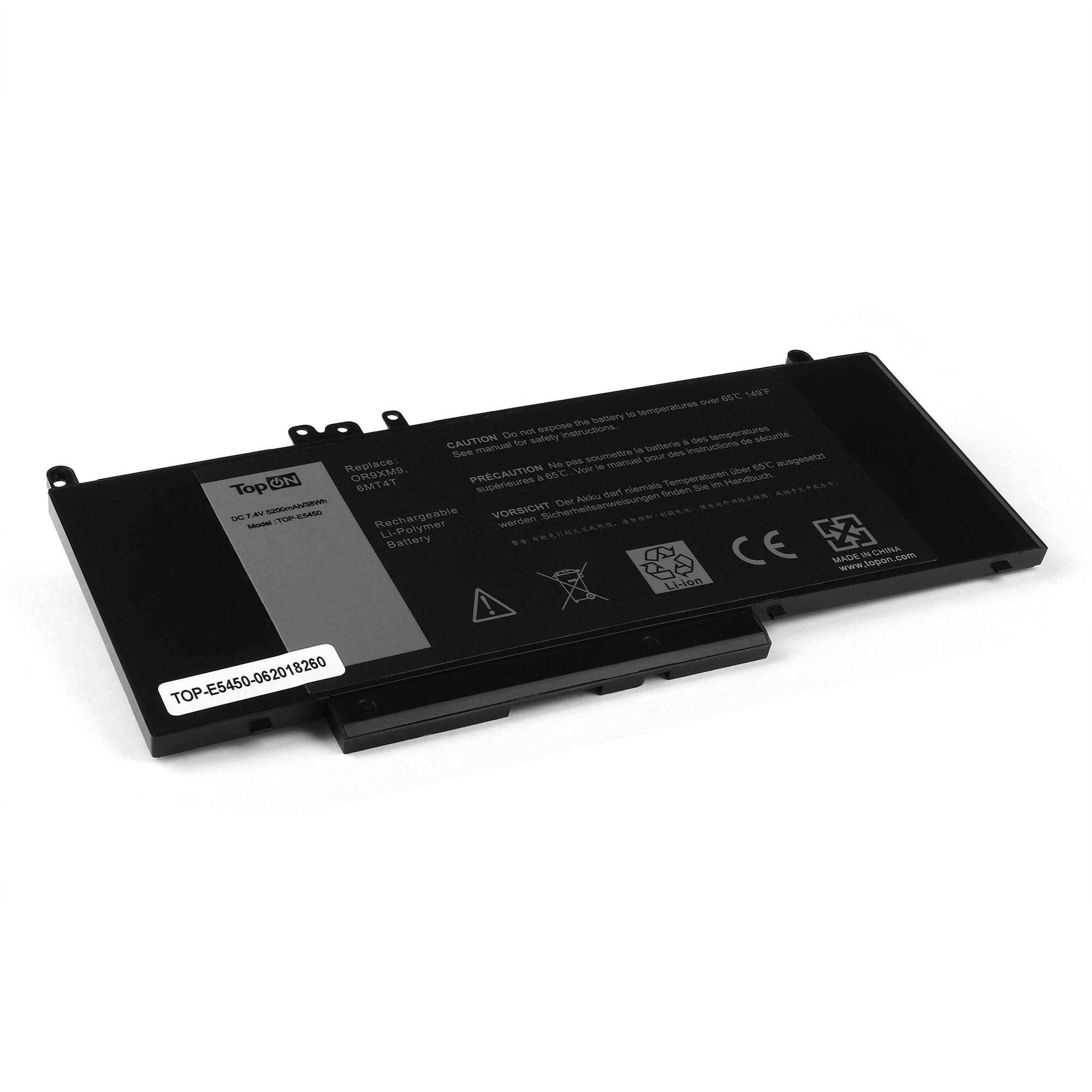 Аккумулятор для ноутбука TopON Dell Latitude E5450, E5550, 14 5000, 15 5000. 7.4V 5200mAh 38Wh. PN: 0R9XM9, 6MT4T, G5M10, 8V5GX, 08V5GX., TOP-E5450