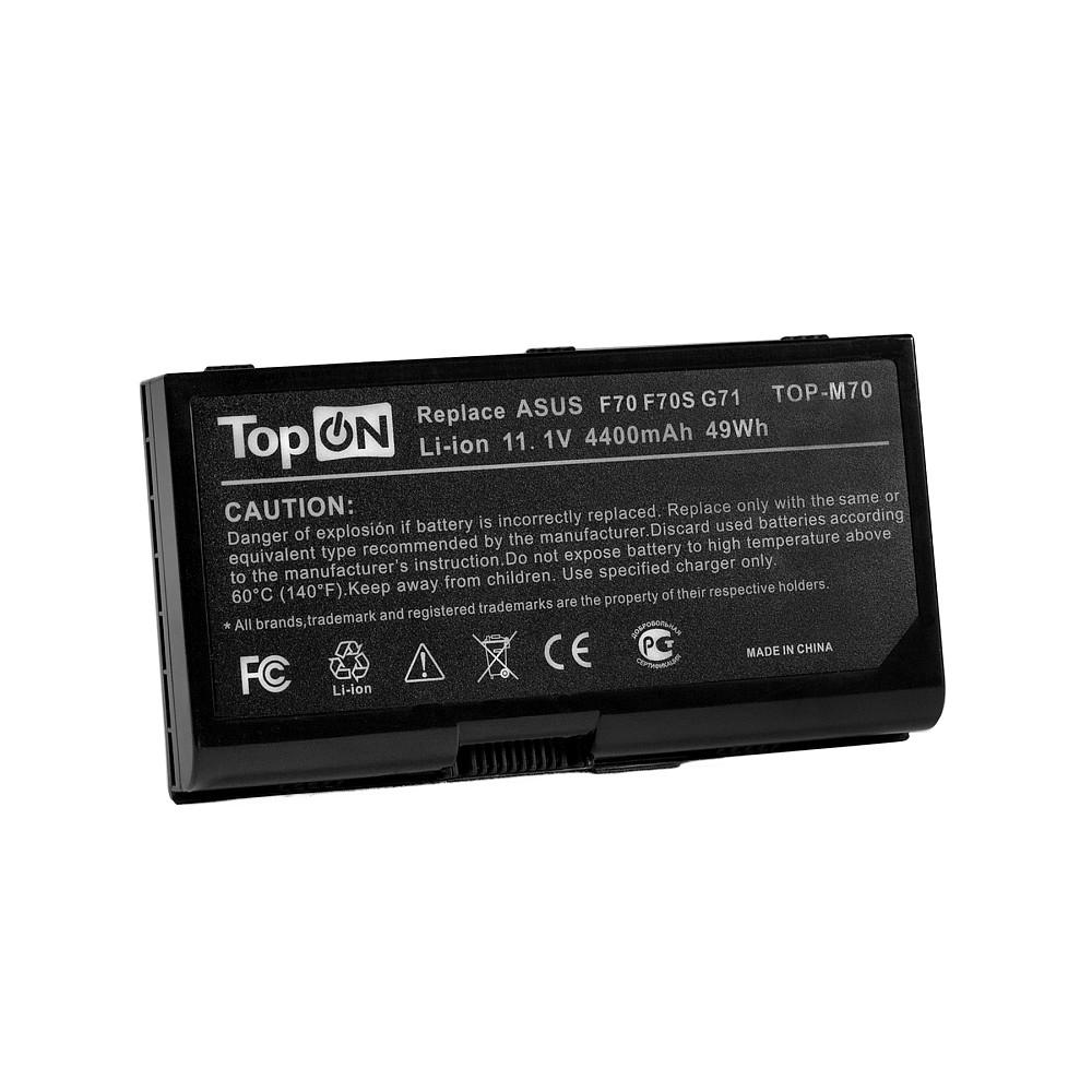 Аккумулятор для ноутбука TopON Asus F70, G71, G72, M70, N70, N90, X71, X72. 11.1V 4400mAh 49Wh. PN: A32-M70, A32-F70., TOP-M70 аккумулятор 4parts lpb m70 для asus f70 g71 g72 m70 n70 n90 pro70 x71 x72 series 11 1v 4400mah