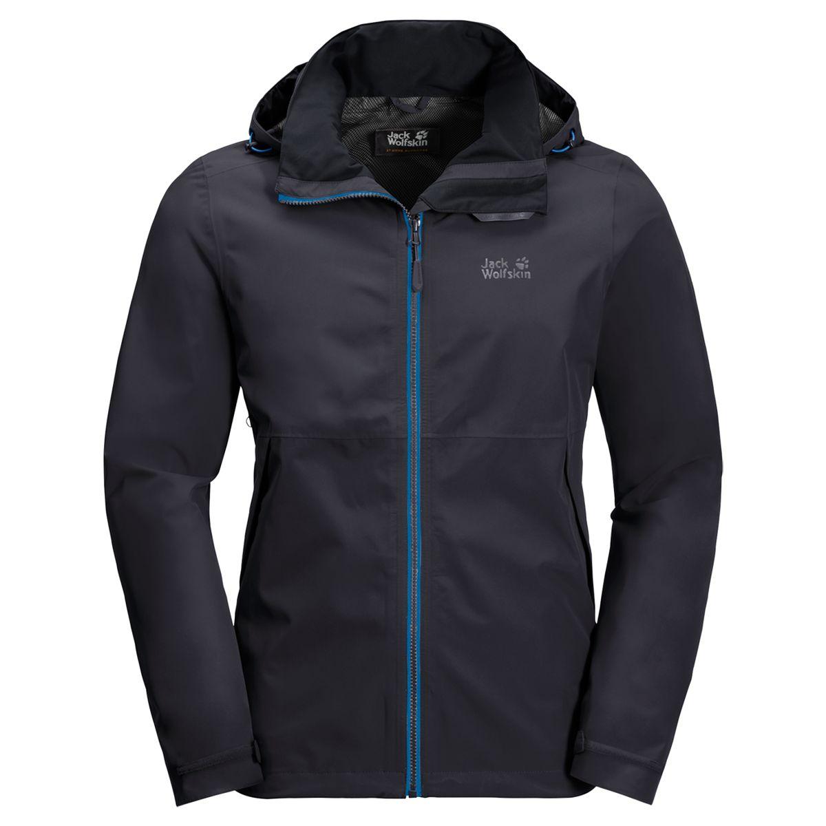Куртка мужская Jack Wolfskin Evandale Jacket M, цвет: темно-серый. 1111131-6230. Размер XXL (54)1111131-6230Разработана специально для сложных маршрутов. EVANDALE (ЭВАНДЕЙЛ) — это классическая непромокаемая куртка и, к тому же, самая легкая в своем классе. Мы создали эту куртку из очень мягкой и эластичной версии нашей ткани TEXAPORE (ТЕКСАПОР). Она не позволит вам промокнуть даже в самый безжалостный дождь. А еще она превосходно дышит, поэтому вы будете чувствовать себя свежими и бодрыми весь день. Для любителей простоты и функциональности. Капюшон, к примеру, можно убрать в воротник куртки, если нет дождя.