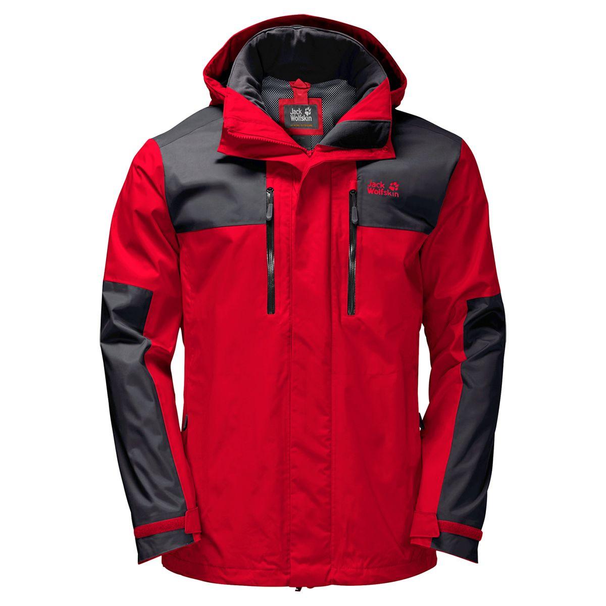 Куртка мужская Jack Wolfskin Jasper Flex Men, цвет: красный. 1108371-2015. Размер S (42/44)1108371-2015Серое небо, низкие облака, лужи под ногами — идеальная погода для хайкинга, если на вас куртка JASPER FLEX (ДЖАСПЕР ФЛЕКС). Эта куртка для хайкинга не только водостойкая: эластичные вставки позволяют ей повторять каждое ваше движение, что является большим плюсом для энергичных занятий. Наружная ткань TEXAPORE SMOOTHLIGHT (ТЕКСАПОР СМУСЛАЙТ) невероятно мягкая и комфортная на ощупь. Область плеч укреплена прочной и эластичной тканью TEXAPORE TASLAN (ТЕКСАПОР ТЭСЛАН) — особенность, которую вы обязательно оцените, когда понесете нагруженный до отказа рюкзак. Вы можете носить куртку JASPER FLEX (ДЖАСПЕР ФЛЕКС) и в более холодную погоду. Просто воспользуйтесь системной застежкой-молнией, чтобы состегнуть ее с подходящей внутренней курткой из флиса;это поможет создать столь необходимую для зимы комбинацию теплоизоляции и защиты от непогоды.
