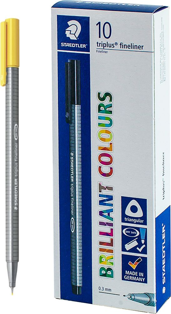 Ручка капиллярная Staedtler Triplus 334, BOX334-1, цвет чернил желтый, 10 шт цена и фото