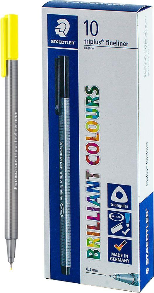 Ручка капиллярная Staedtler Triplus 334, BOX334-10, цвет чернил светло-желтый, 10 шт цена и фото