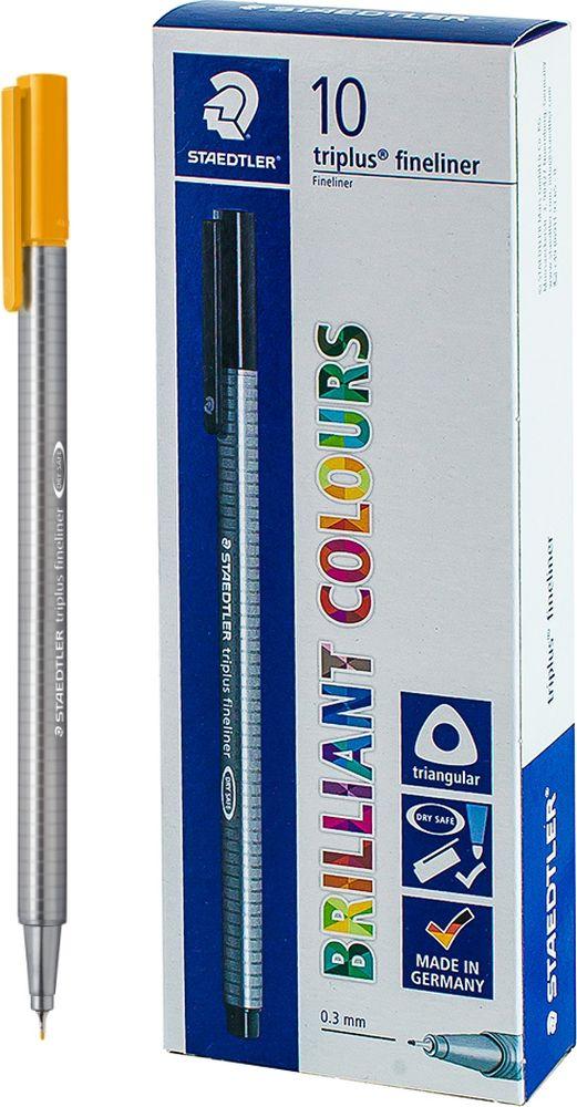 Ручка капиллярная Staedtler Triplus 334, BOX334-16, цвет чернил золотая охра, 10 шт цена и фото
