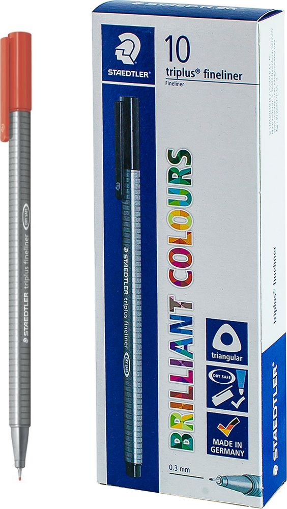 Ручка капиллярная Staedtler Triplus 334, BOX334-2, цвет чернил красный, 10 шт цена и фото