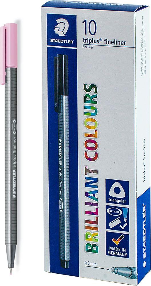 Ручка капиллярная Staedtler Triplus 334, BOX334-21, цвет чернил розовый, 10 шт цена и фото