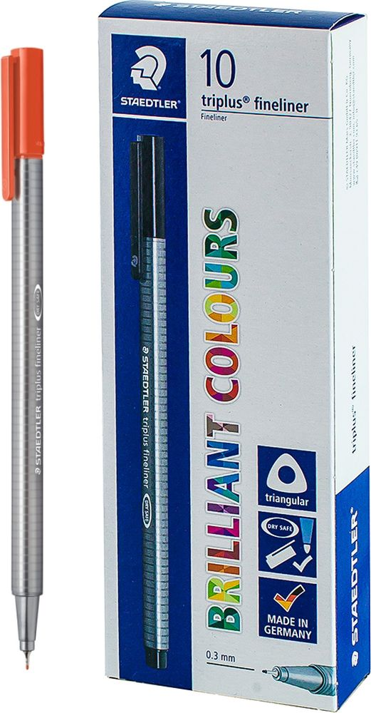 Ручка капиллярная Staedtler Triplus 334, BOX334-24, цвет чернил алый, 10 шт цена и фото