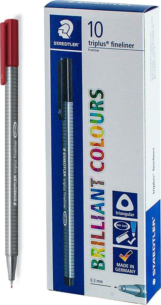 Ручка капиллярная Staedtler Triplus 334, BOX334-29, цвет чернил алый, 10 шт цена и фото