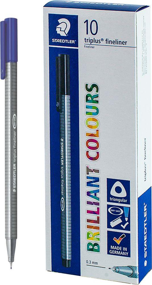 Ручка капиллярная Staedtler Triplus 334, BOX334-3, цвет чернил синий, 10 шт цена и фото
