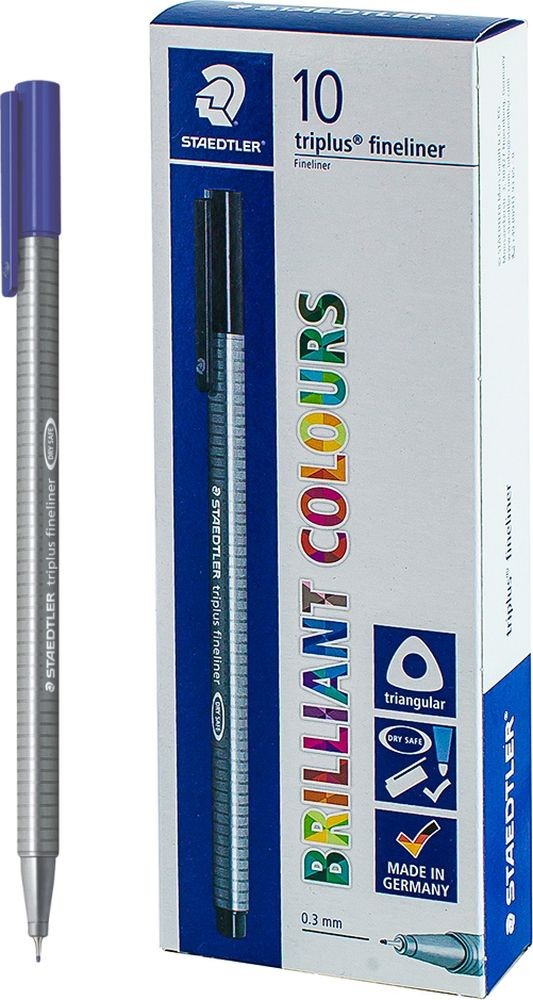 Ручка капиллярная Staedtler Triplus 334, BOX334-30, цвет чернил светло-синий, 10 шт цена и фото