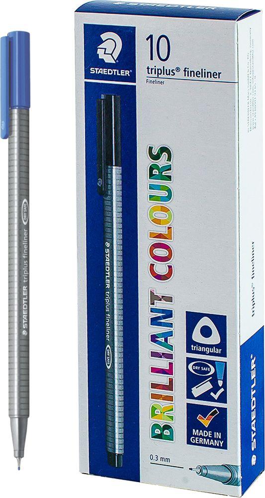 Ручка капиллярная Staedtler Triplus 334, BOX334-37, цвет чернил голубой, 10 шт цена и фото