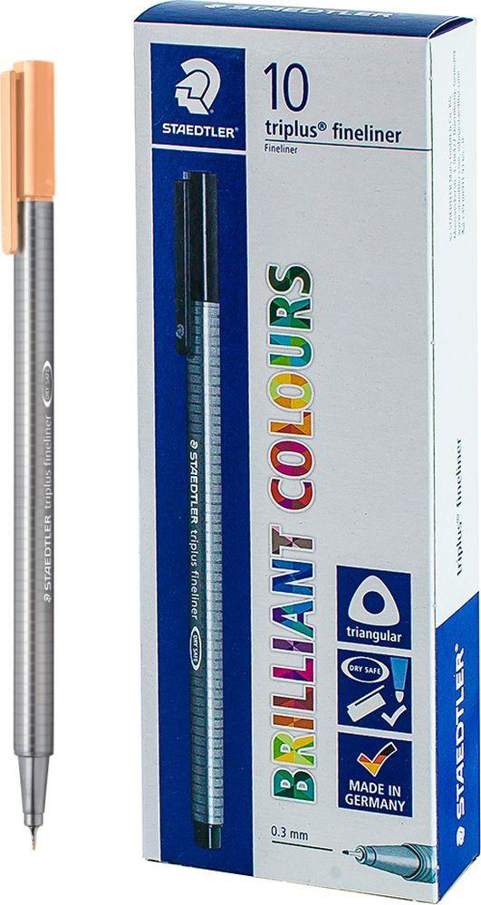 Ручка капиллярная Staedtler Triplus 334, BOX334-430, цвет чернил персиковый, 10 шт цена и фото