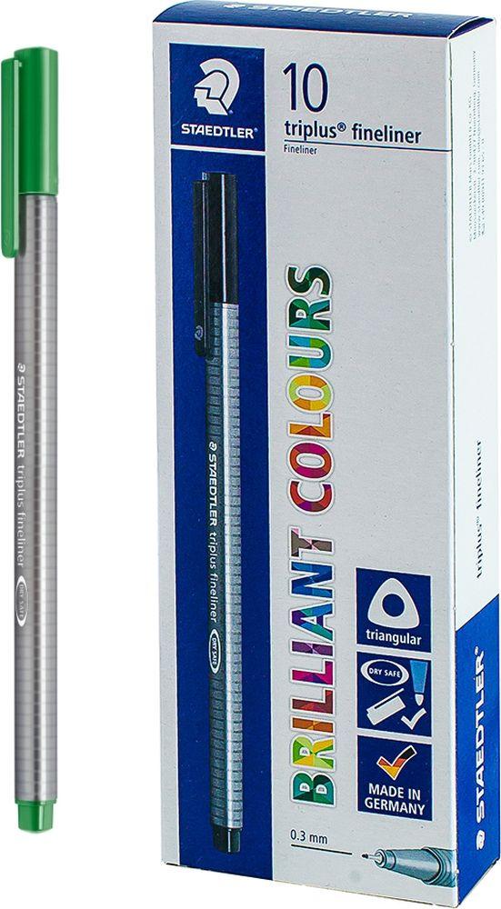 Ручка капиллярная Staedtler Triplus 334, BOX334-52, цвет чернил зеленая трава, 10 шт цена и фото