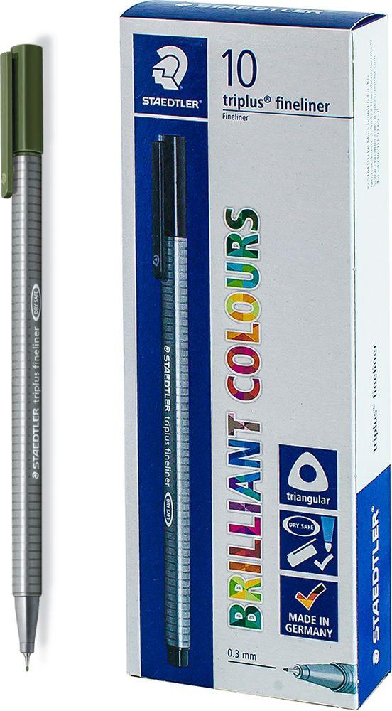 Ручка капиллярная Staedtler Triplus 334, BOX334-55, цвет чернил зеленая земля, 10 шт андрей упит земля зеленая