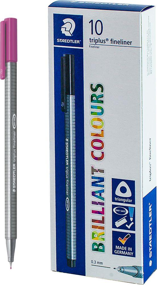 Ручка капиллярная Staedtler Triplus 334, BOX334-61, цвет чернил темно-сиреневый, 10 шт цена и фото