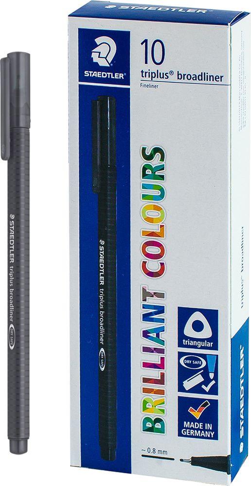 Ручка капиллярная Staedtler Triplus Broadliner 338, BOX338-8, цвет чернил серый, 10 шт