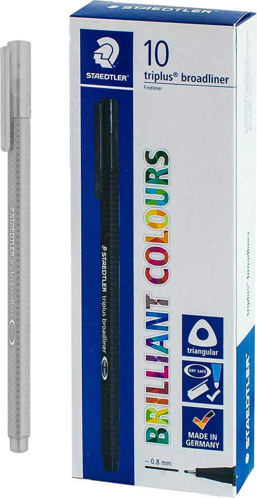 Ручка капиллярная Staedtler Triplus Broadliner 338, BOX338-82, цвет чернил светло-серый, 10 шт