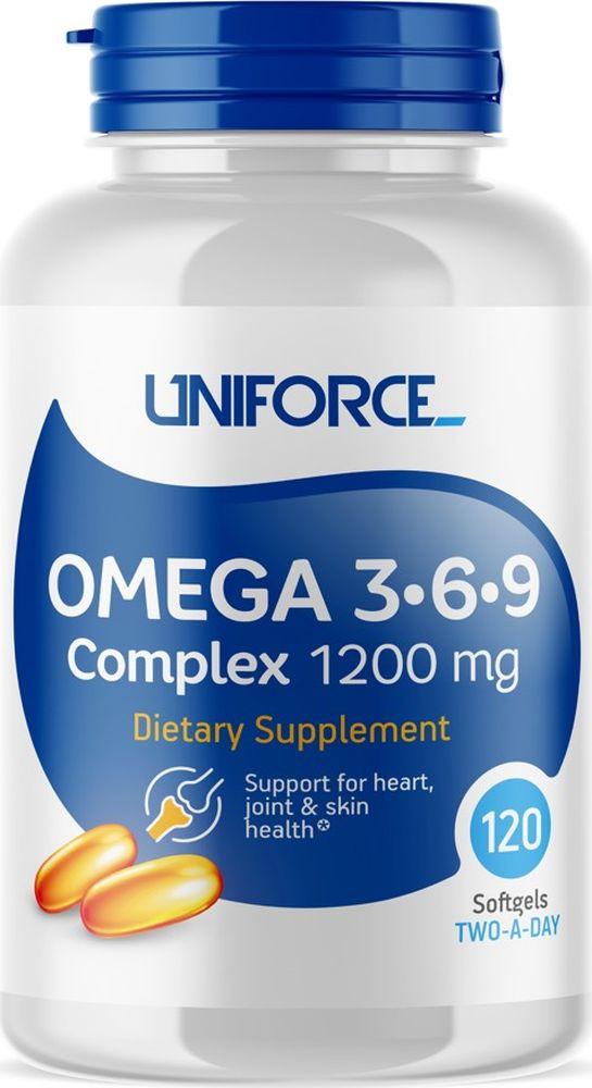 Omega 3 Uniforce Omega 3-6-9 Complex 1200 мг, 120 капсул omega 3 для похудения