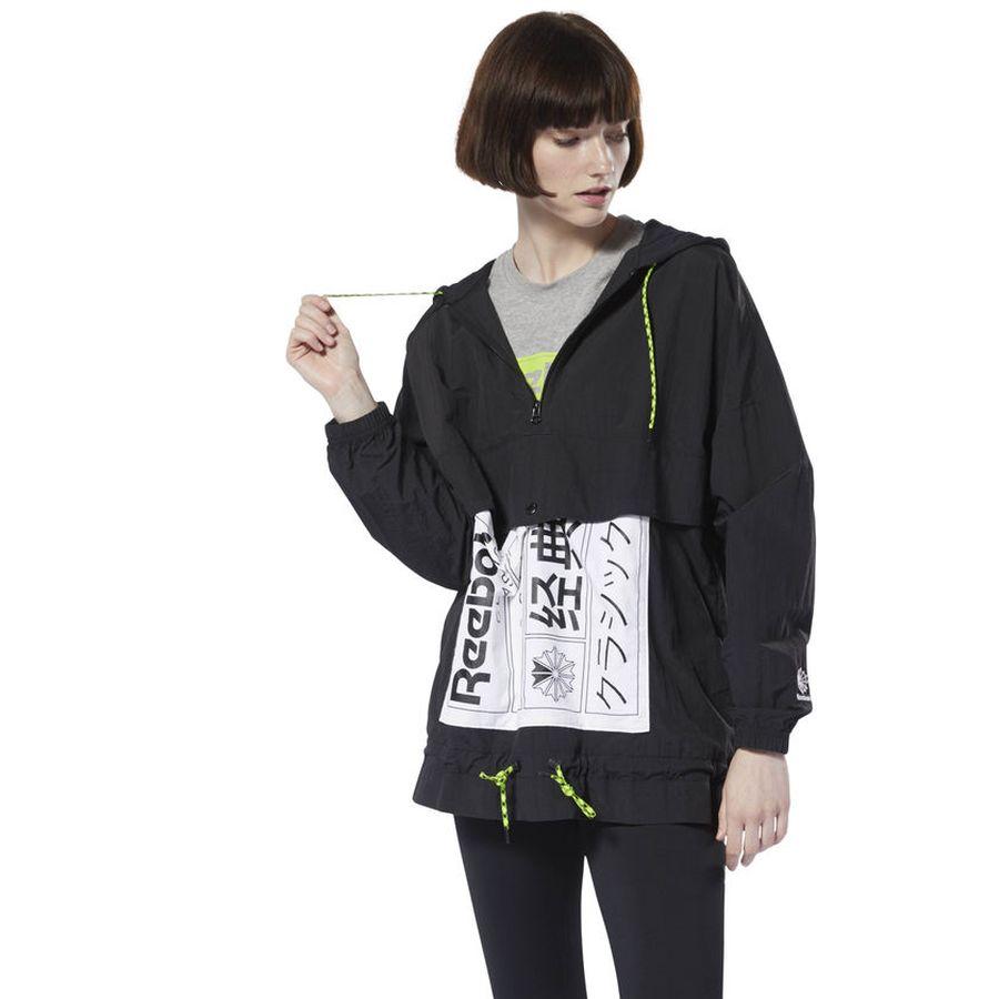 Куртка женская Reebok Cl Gp Anorak, цвет: черный. DT7302. Размер XS (40)DT7302