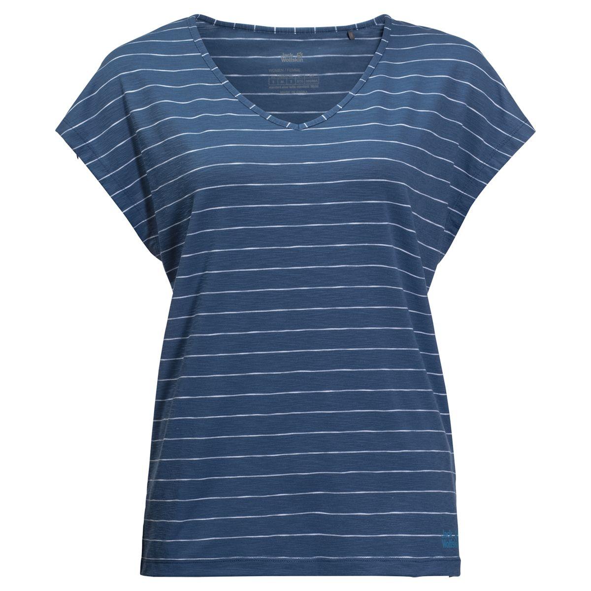 Фото - Футболка Jack Wolfskin Travel Striped T W plus size front pocket striped asymmetric tunic t shirt