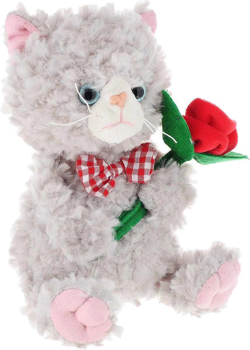 """Мягкая игрушка Angel Collection """"Cat story Котик с цветком"""", 681554, серый, 25 см"""