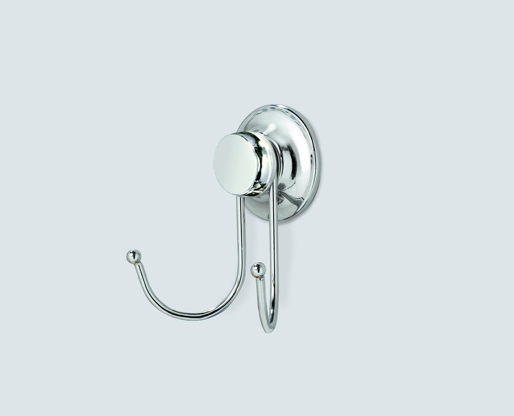 EVERLOC Крючок двойной 9,5х6х9,4H см, хромированная сталь, крепление: вакуумная присоска Ø 53мм, в блистере