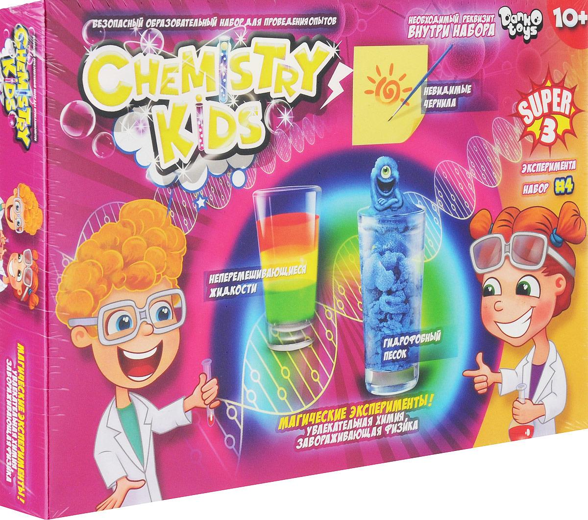 Набор для опытов ДанкоТойс Chemistry Kids Магические эксперименты, CHK-02-04CHK-02-04Этот большой набор для научных экспериментов - прекрасный подарок юным исследователям, которые жаждут новых открытий. Ребенок сможет познакомиться с захватывающей и невероятной химией, узнать маленькие секреты загадочных явлений, создать своими руками интереснейшие опытные образцы. Большой набор для опытов Chemistry Kids полностью безопасен для ребенка, при соблюдении рекомендаций описанных в инструкции к каждому опыту. Ребенок создаст увлекательные и невероятные эксперименты и познает суть каждого явления. В набор входит весь необходимый инвентарь для проведения опытов. С таким увлекательным набором опытов, школьник полюбит химию и оценит захватывающие процессы, которые можно провести из подручных материалов в домашних условиях. При помощи вспомогательных средств входящих в набор, можно провести следующие эксперименты: – создать невидимое шпионское чернило... дальше ! – создать гидрофобный песок, который просто невозможно намочить! – сделать несмешивающиеся цвета! – и еще, целых, 6 занимательных экспериментов Набор включает в себя: – инструкция. – 2 жидких красителя. – кисточка. – перчатки для опытов. – гидрофобный песок. – защитные очки. – кварцевый песок. – ложка для экспериментов. – 5 различных веществ для опытов. Рекомендуем!