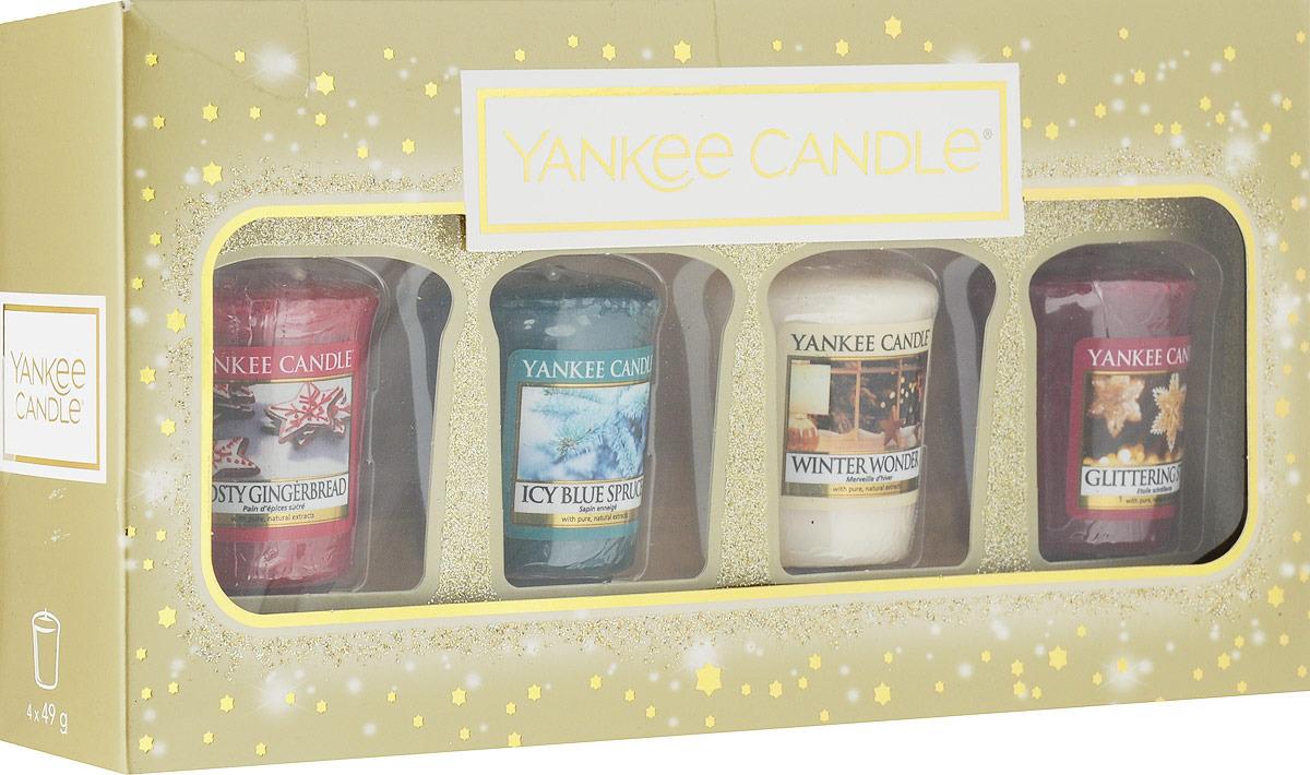 Набор ароматизированных свечей Yankee Candle Праздничное сияние Заснеженная ель + Новогоднее чудо + Имбирный пряник с глазурью + Сверкающая звезда, 1599947 ель искусственная заснеженная actuel 180см