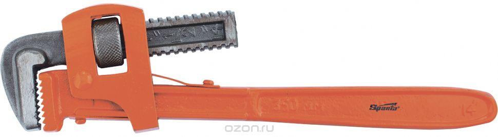 """Ключ SPARTA Stillson, 157645157645Трубный ключ Stillson 2,5"""" SPARTA 157645 - ручной инструмент, используемый при монтажных работах. Широкие губки с острыми насечками увеличивают площадь контакта, а также способствуют более прочному захвату детали. Максимальный диаметр трубы - 2.5 дюймов."""