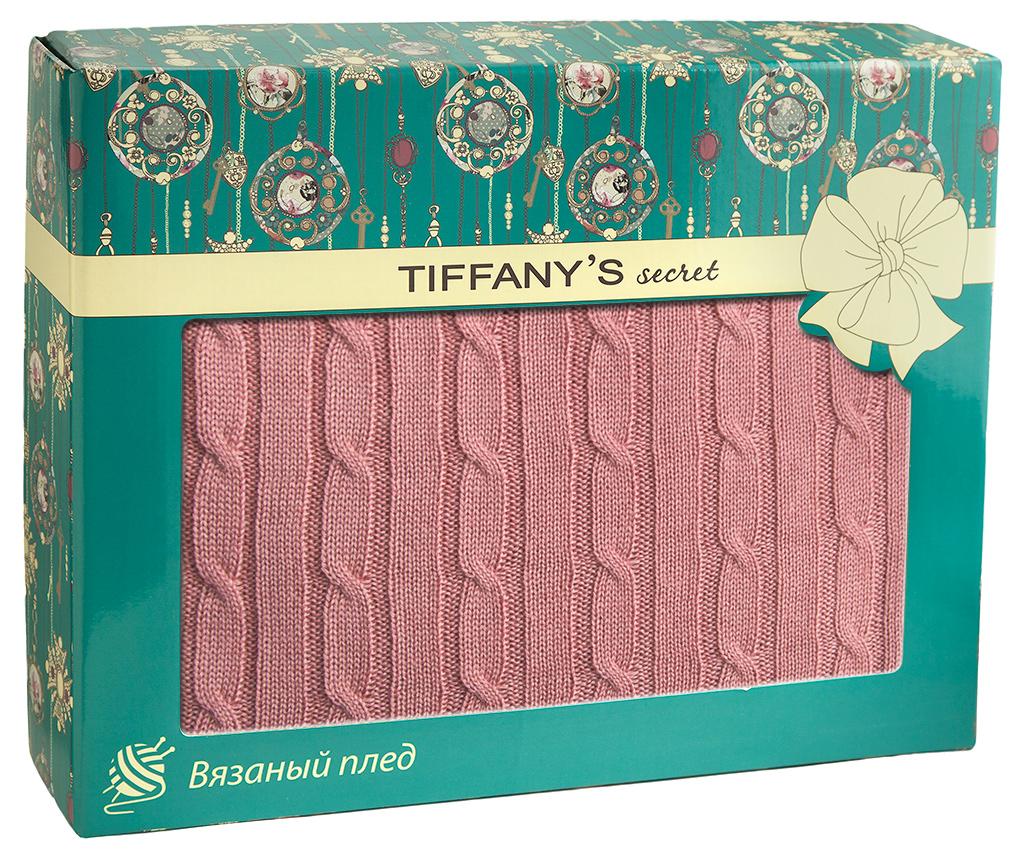 Плед 140*180 Tiffany's secret, трикотажной вязки, Косичка, Малиновый Фраппе maigret s secret