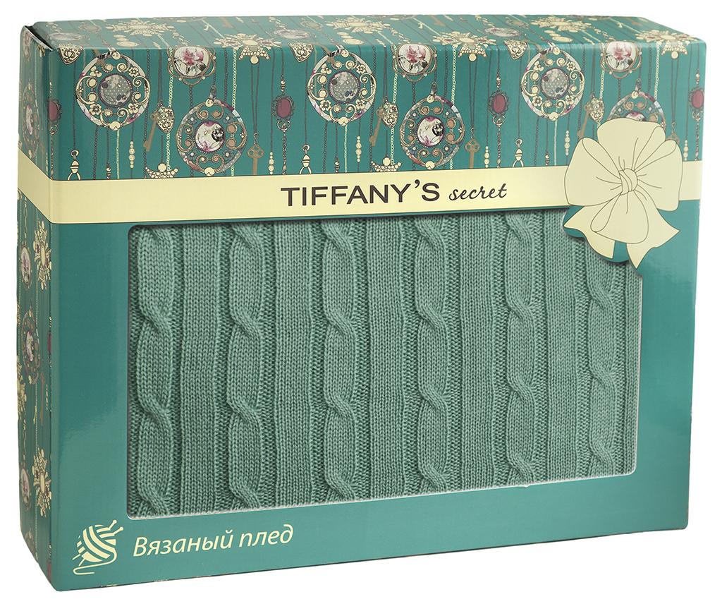 Плед 140*180 Tiffany's secret, трикотажной вязки, Косичка, Мятный Мокка maigret s secret