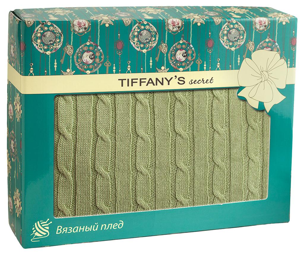 Плед 140*180 Tiffany's secret, трикотажной вязки, Косичка, Зеленый чай Латте maigret s secret