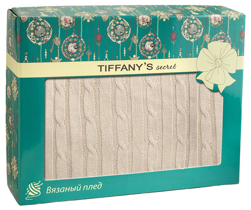 Плед 140*180 Tiffanys secret, трикотажной вязки, Косичка, Ванильный Раф