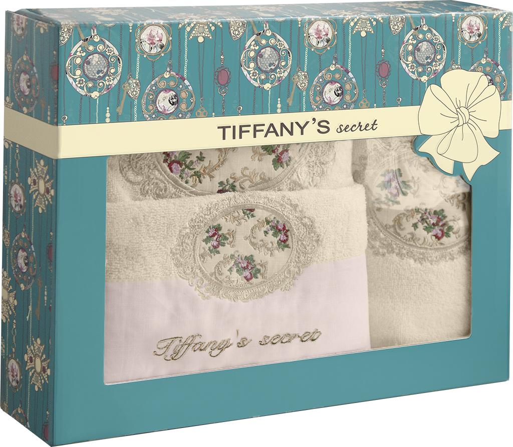 Набор из 3-х полотенец банных Tiffany's secret, махровых, Медальон, Персиковый крем комплект из 2 махровых банных полотенец из биохлопка